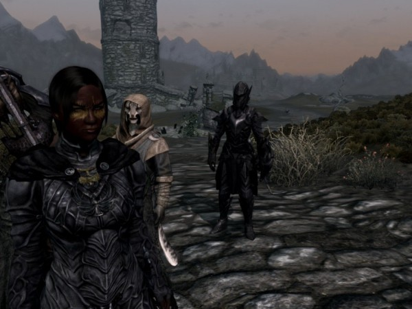 The multiple followers mod lets my thief takes a break from her life of crime to play Good Cop to Lydia's Bad Cop. J'zargo is our rookie comic relief.