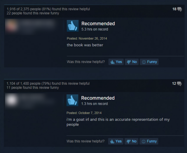 A few typical reviews from the 'Goat Simulator' store page on Steam.
