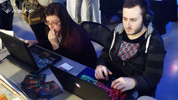 Local developers Kimberly & Cale playing Solace State at Bit Bazaar 2015