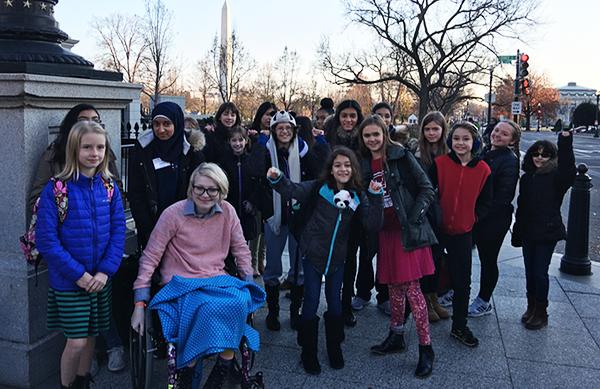 Girls Make Games outside the White House